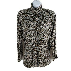 Escada Silk Blouse Asymmetric Hi Neck Animal Print Cheetah